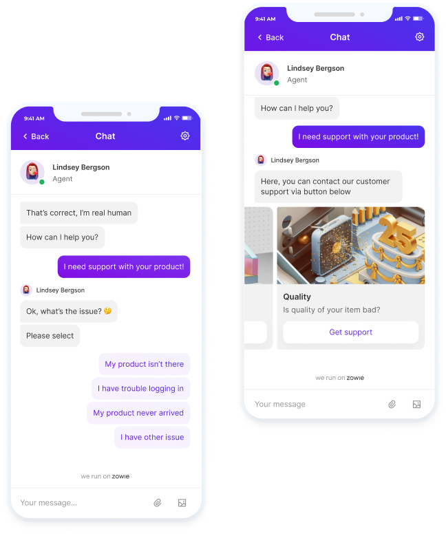 Zowie mobile chatbot screen