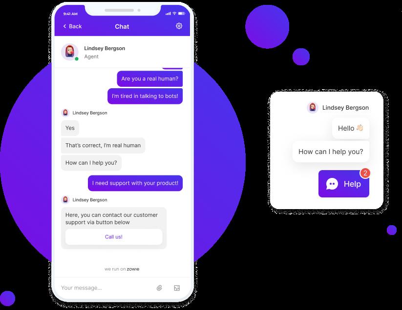 Zowie mobile chatbot screenshot