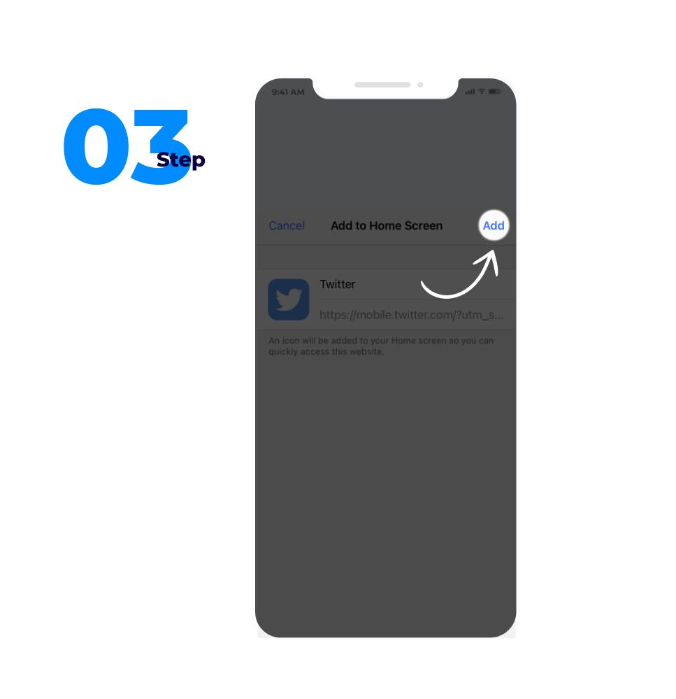 PWA app installation step three