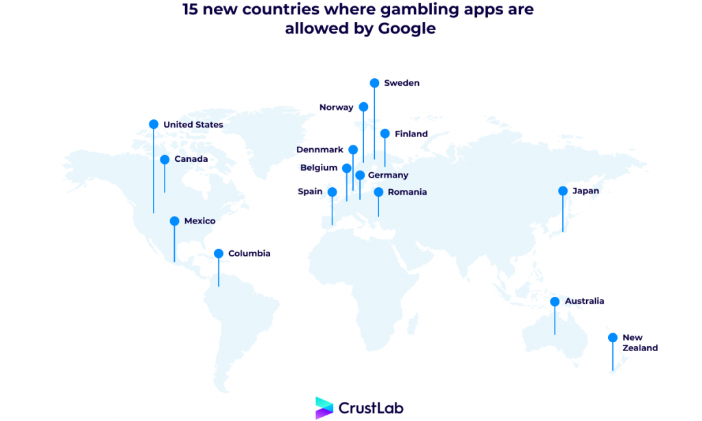 15 new countries where gambling apps are allowed by Google